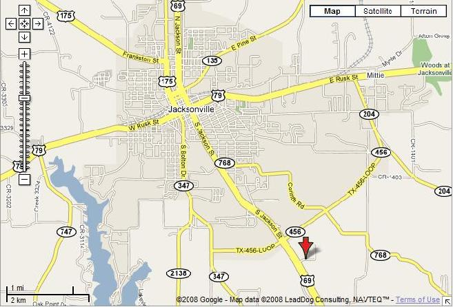 Map of Jacksonville, TX and CR 1520